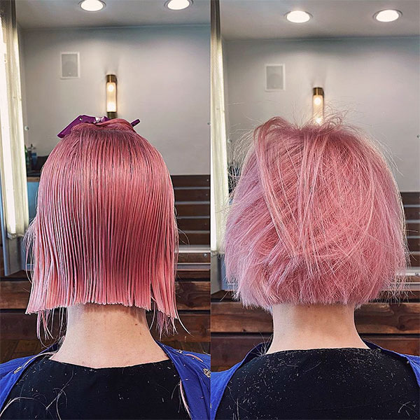 beautiful women with pink hair