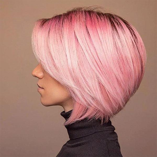 cool pink short hair