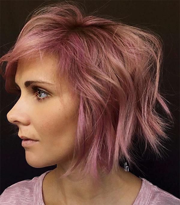 hair color ideas for short pink hair