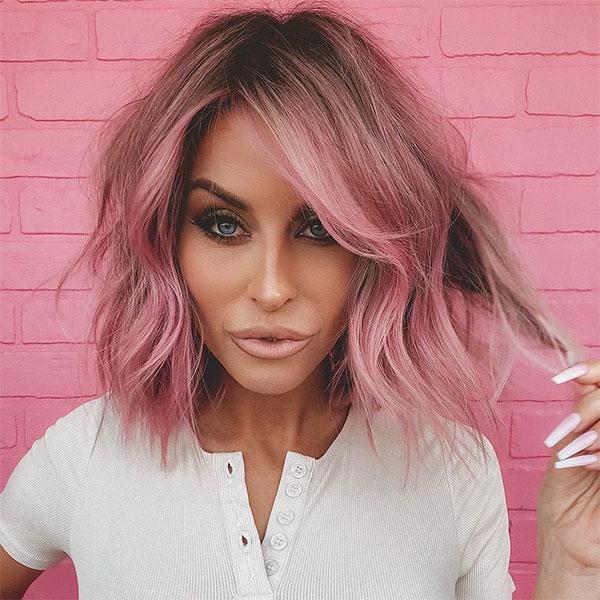 hair styles for short pink hair