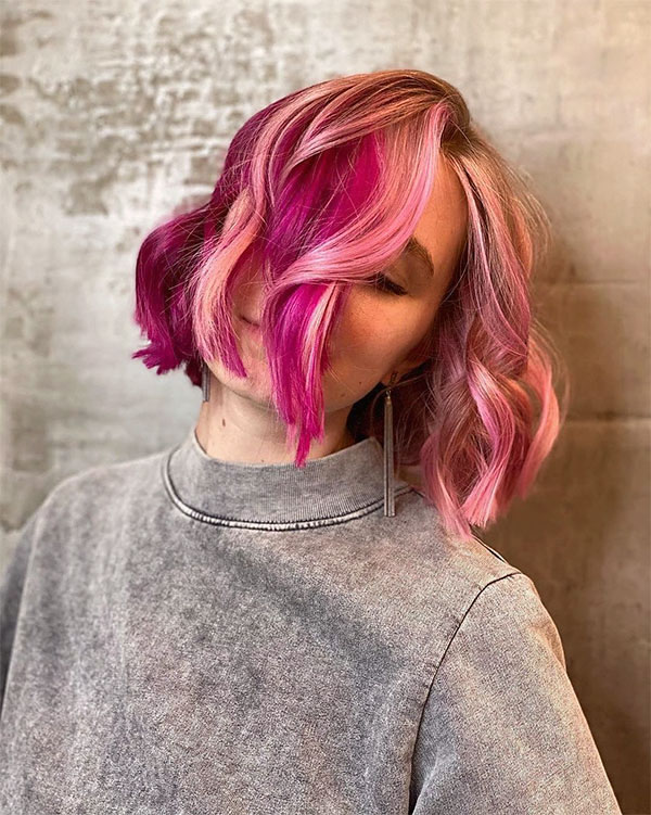 hairstyles for pink hair