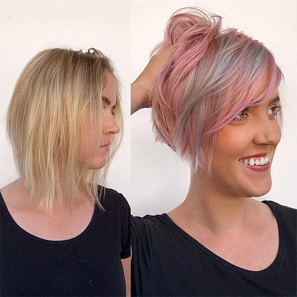 ladies short pink hairstyles