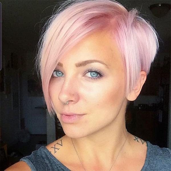 pink hair cuts short