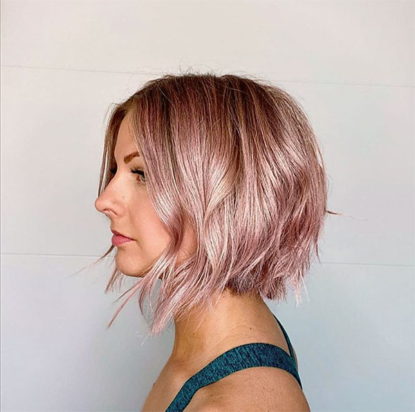 pink hair on short hair