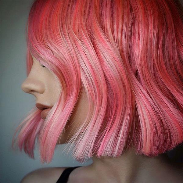 pink hair short hair