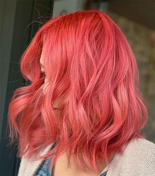 pink woman short hair