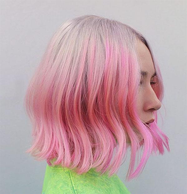 short and pink hair