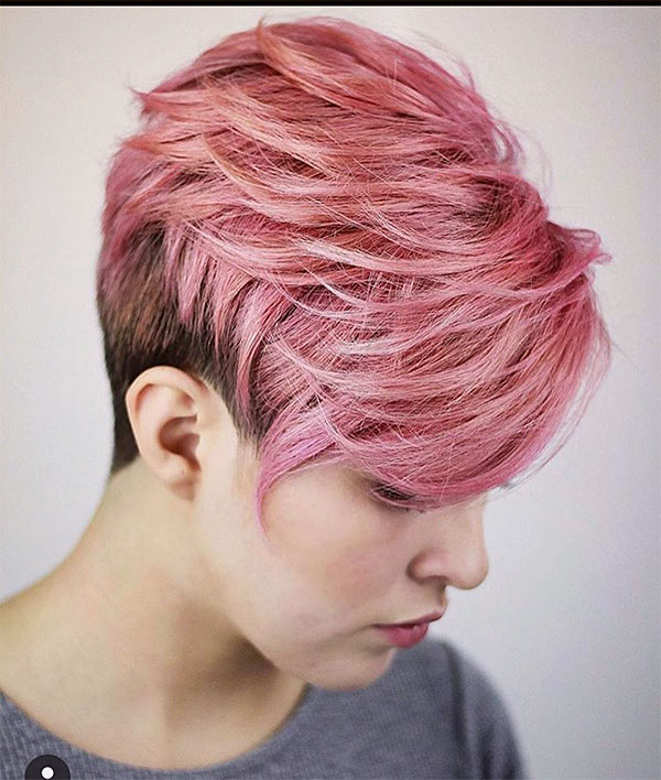 short hair cuts pink