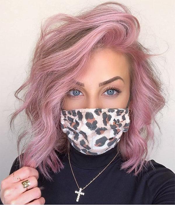 short hair pink women
