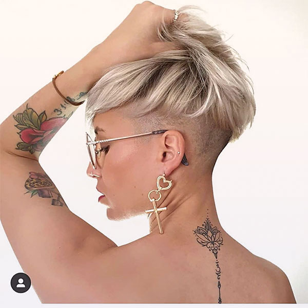 short hair with blonde color