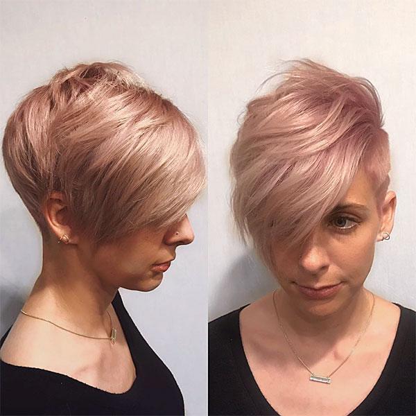 short hair women pink