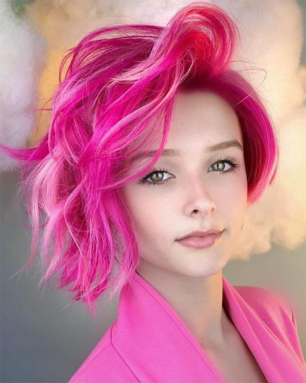 short haircuts for women pink