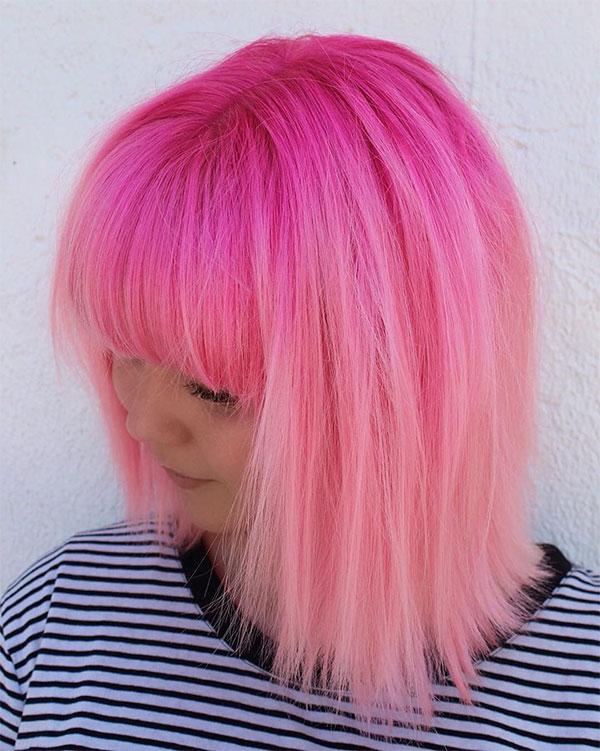 short pink hair cut
