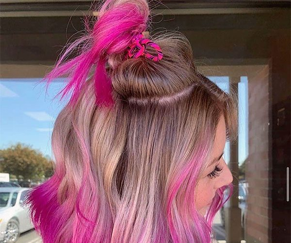 short pink hair style