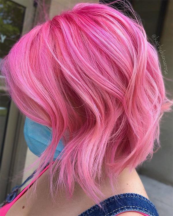 short pink hair styles