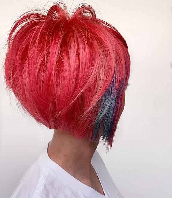 short pink hair woman