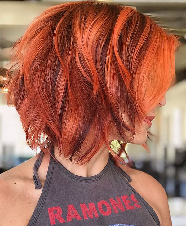 short red hair woman