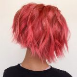 women with short pink hair